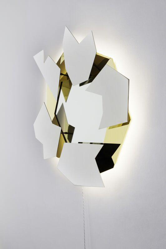 Mattia Bonetti, 'Mirror, 'Brisee'', 2012, Design/Decorative Art, Stainless steel, gold plated / mirror polished finish, LED lighting, David Gill Gallery