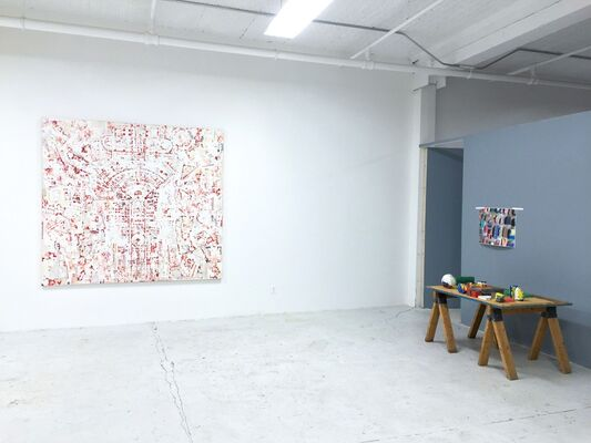 MATTER & CONJECTURE, KES ZAPKUS STEFAN GRITSCH, curated by Marjorie Welish, installation view