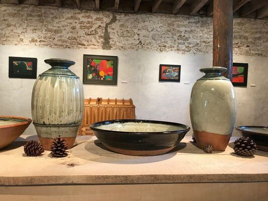 After Eighties: Fred Cuming RA, Robin Rae RCA, Alfred Stockham RWA RCA pottery by Richard Batterham, installation view