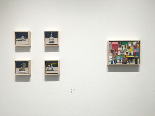 """Ken Beck """"SOCKS SHOES SOLDIERS AND SUCH: A Studio Recreation"""" / Harold Reddicliffe """"Recent Small Paintings"""", installation view"""
