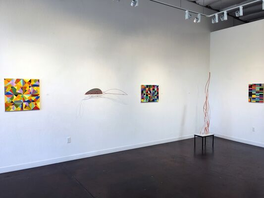 """Reaction of Rhythm"", new paintings by Mark L. Emerson & ""Distant Shores"", new sculpture by Dean DeCocker, installation view"
