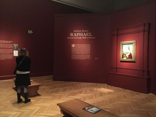 """Sublime Beauty: Raphael's """"Portrait of a Lady with a Unicorn"""", installation view"""
