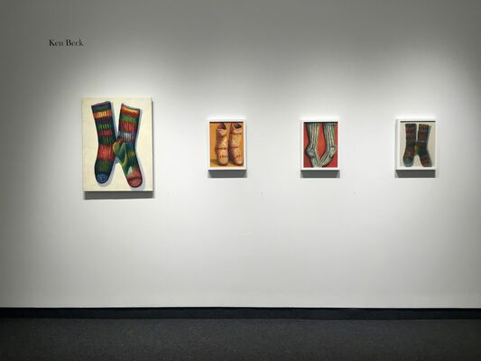 "Ken Beck ""SOCKS SHOES SOLDIERS AND SUCH: A Studio Recreation"" / Harold Reddicliffe ""Recent Small Paintings"", installation view"