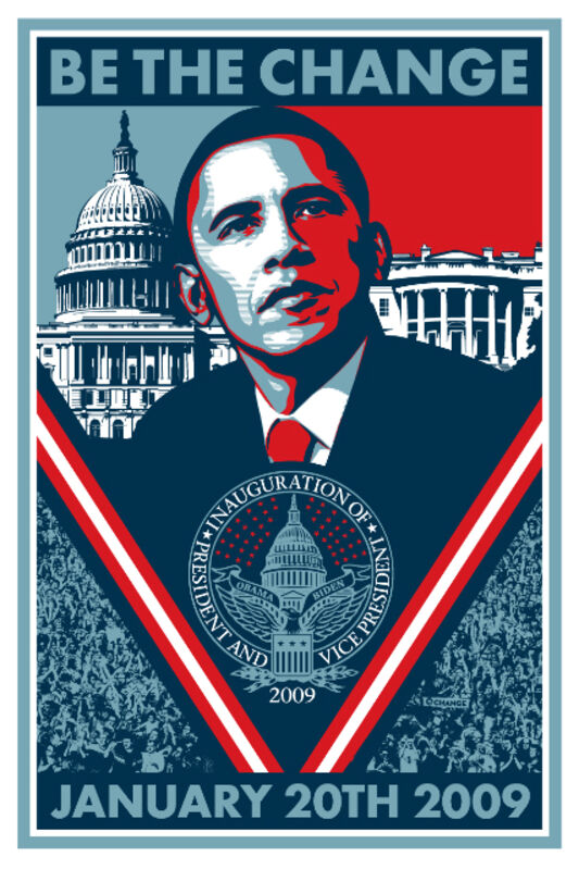 Shepard Fairey, 'Be the Change (Inauguration 2009)', 2008, Print, Screen print on cream speckle tone paper, Reem Gallery