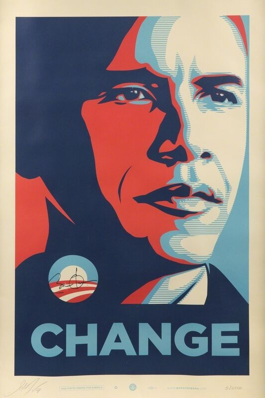 Shepard Fairey, 'CHANGE (officially signed by US President Barack Obama and Shepard Fairey)', 2008, Print, Offset lithograph, EHC Fine Art