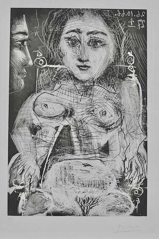 Pablo Picasso, 'Portrait of Jacqueline in the Armchair', 1966, Print, Original Etching and Aquatint on BFK Rives Wove Paper, Thou Art