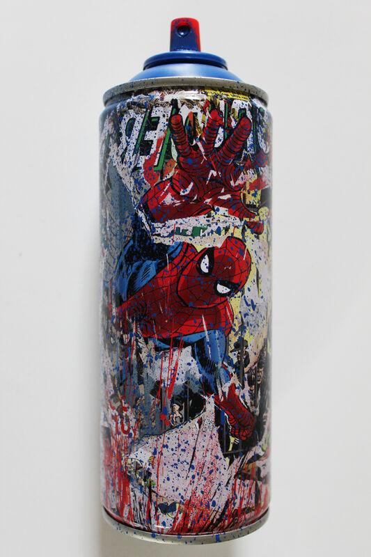 Mr. Brainwash, 'Spiderman Spraycan Blue', 2019, Sculpture, Mixed media on spray can, EHC Fine Art