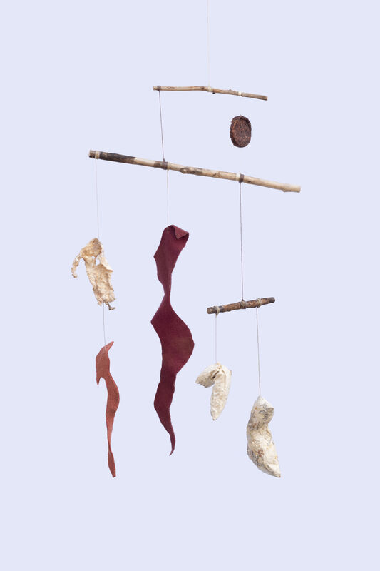 Amanda Millet-Sorsa, 'Fungus, the moon, and two leaves', 2020, Sculpture, Mycelium, wool dyed with henna and beggars, and cutch paint, SHIM Art Network
