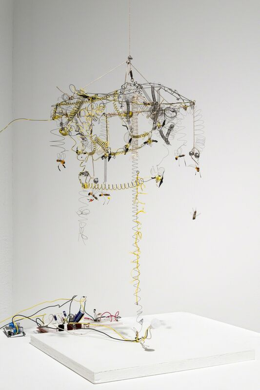Kelly Heaton, 'Kinetic Study of Bees No.', 2013, Sculpture, Wire, string, plastic, electronics, and wooden base, Ronald Feldman Gallery