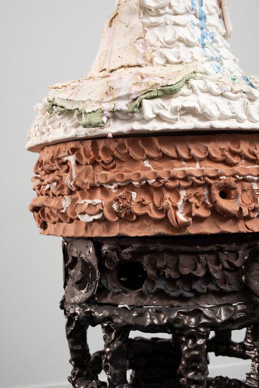Nicole Cherubini, '746,932,514.549713826', 2018, Sculpture, Earthenware, terracotta, black clay, glaze, underglaze, aluminum, steel bolts, wood, magic-sculpt, PC-11, Shoshana Wayne Gallery