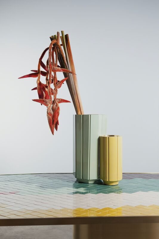 India Mahdavi, 'Landscapes vase#2 S1 andvase#3 S1 on table#2', 2013, Chartreuse/gold and celadon/gold;Glazed ceramic with/without pure gold interior coating, Carwan Gallery
