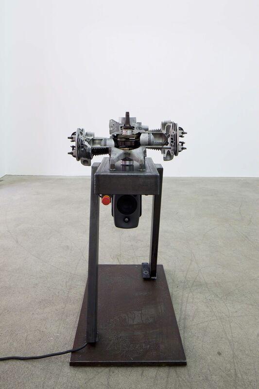 Thomas Bayrle, 'Spatz von Paris', 2011, Sculpture, 2 CV engine, 2011 gutted machin / electrically driven on steel platform / Sound collage of 2 cv engines, Edith Piaf Song, Air de Paris
