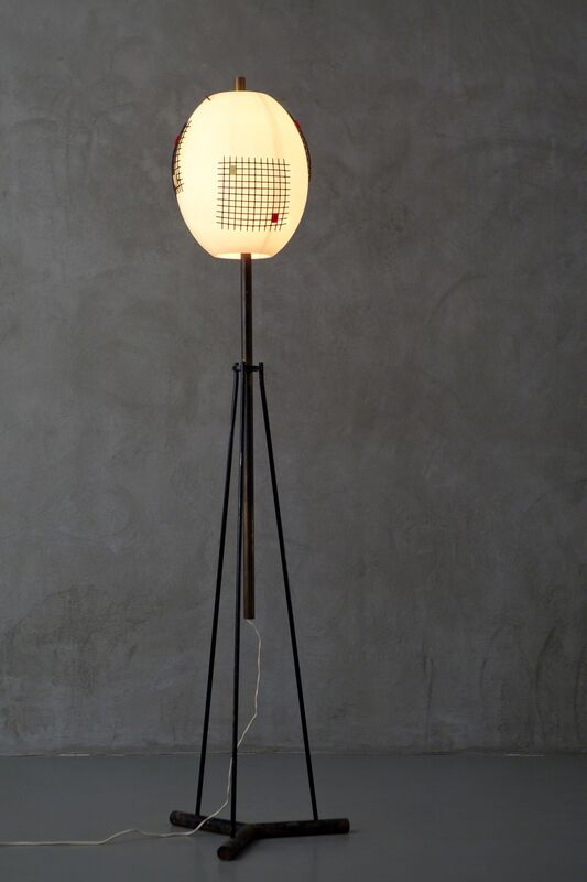 Angelo Lelli, 'mod. n°12626 floor lamp', 1950's, Design/Decorative Art, Varnished metal, brass, opaline glass, acrylic resin (perspex), Nilufar Gallery