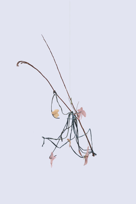 Amanda Millet-Sorsa, 'Sprouting Dance', 2020, Sculpture, Cotton and Linen dyed with indigo, onion skins, osage orange, avocado seeds, madder roots, cochineal coated with bees wax and rabbit skin glue, hemp string, pussy willow twig, SHIM Art Network