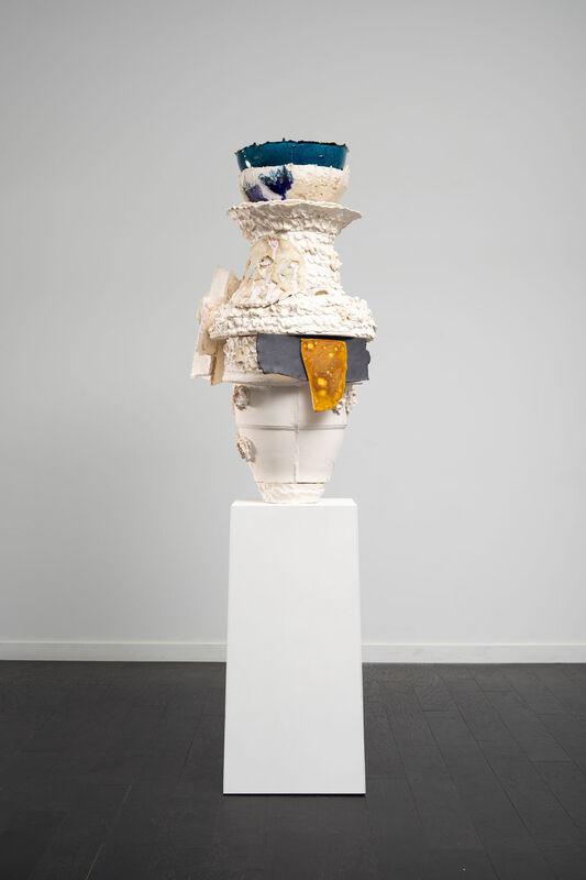 Nicole Cherubini, 'Queen', 2018, Sculpture, Earthenware, paper clay, glaze, acrylic paint, powder-coated aluminum, magic sculpt, PC-11, steel rod, wing nuts, Shoshana Wayne Gallery