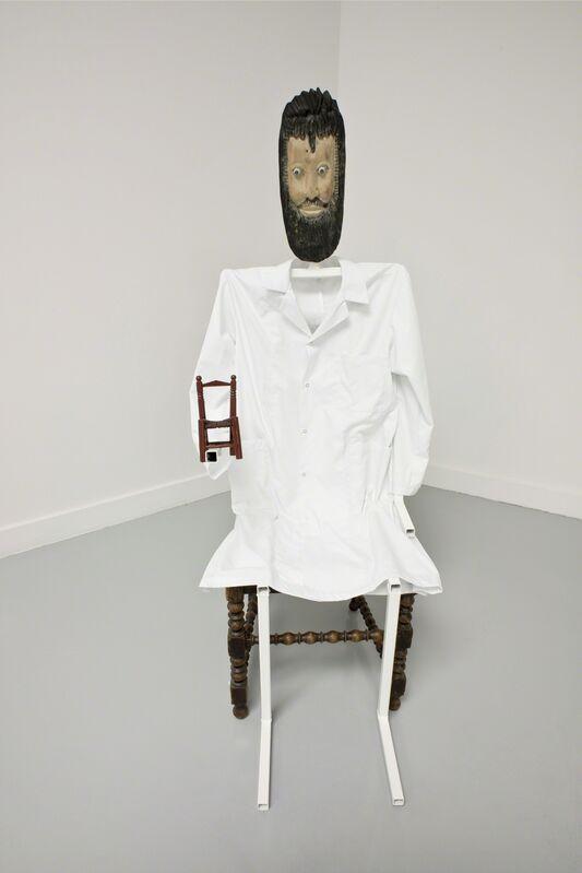 Jos de Gruyter & Harald Thys, 'Der Dokter', 2013, Sculpture, Bearded puppet with metal skeleton, wooden miniature chair, Micheline Szwajcer