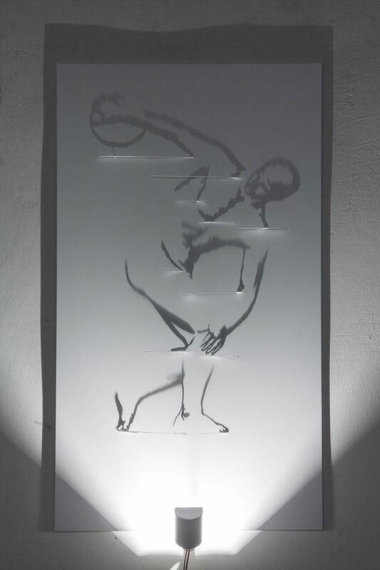 Fabrizio Corneli, 'Maquette Discobolo', 2004, Installation, Brass cut on a painted aluminum panel, halogen lamp, Studio Trisorio