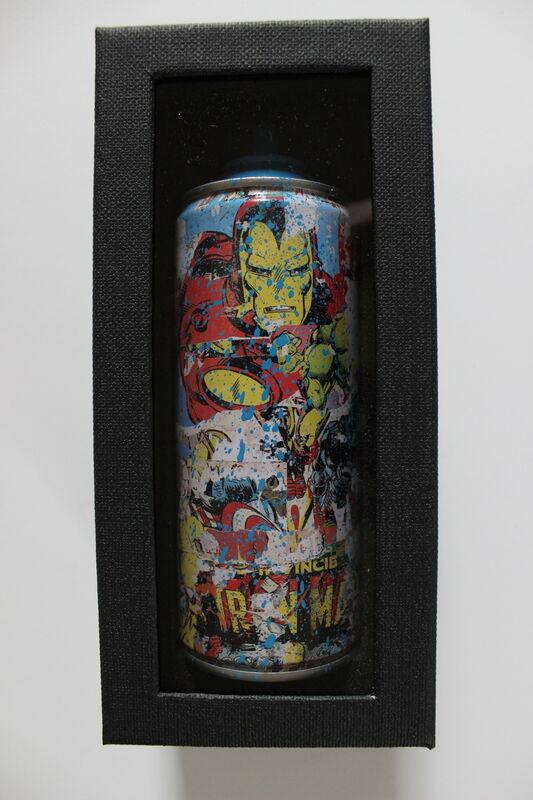 Mr. Brainwash, 'Ironman Spraycan Cyan', 2019, Sculpture, Mixed media on spraycan, EHC Fine Art