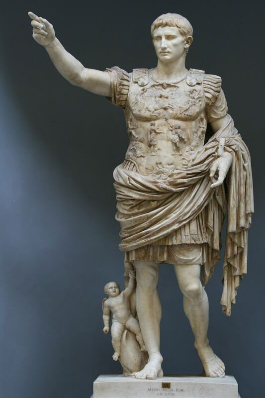'Augustus of Primaporta, perhaps a copy of a bronze statue of ca. 20 B.C.', Early 1st century, Sculpture, Marble, originally colored, Art History 101