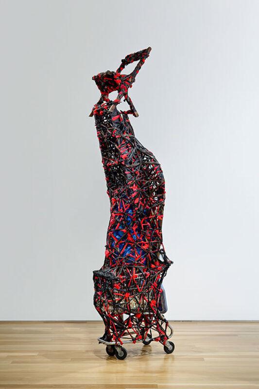 Nari Ward, 'Savior', 1996, Sculpture, Shopping cart, plastic garbage bags, cloth, bottles, metal fence, earth, wheel, mirror, chair, and clocks, Pérez Art Museum Miami (PAMM)