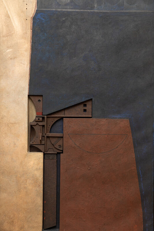 Marcelo Bonevardi, 'Astrologer's Table II', 7424, Painting, Acrylic on textured substrate on canvas with cutouts on wood stretcher, painted wood assemblage and carving, Leon Tovar Gallery