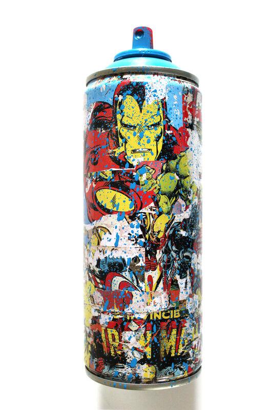 Mr. Brainwash, 'Ironman Spraycan Cyan', 2019, Sculpture, Mixed media on spraycan, EHC Fine Art Gallery Auction