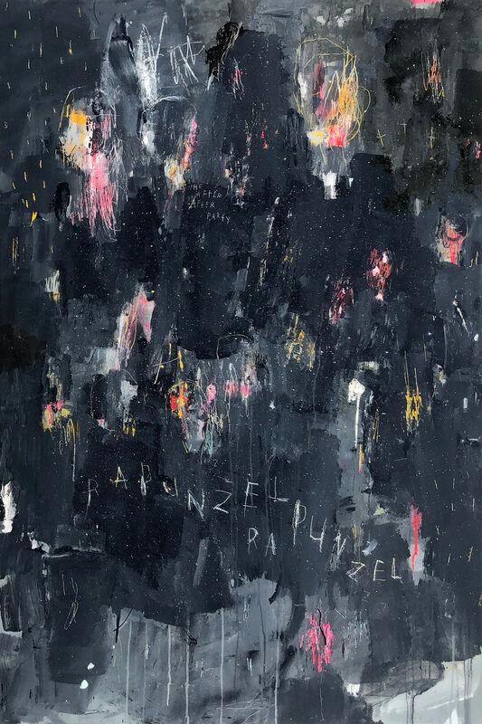Gino Belassen, 'Rapunzel Rapunzel', 2019, Painting, Acrylic, Spray Paint, Pastel, Resin, Glitter on Panel, Belhaus