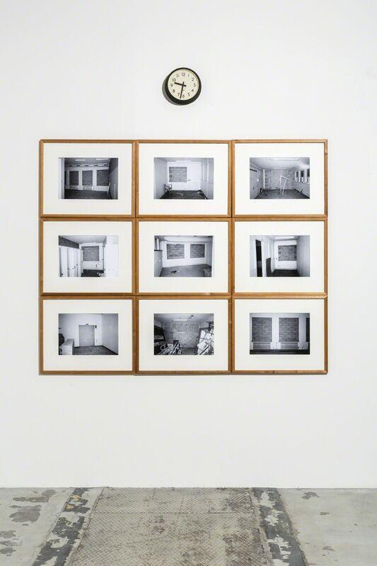 E.B. Itso, 'Somewhere Not Anywhere', 2014, Installation, Found object (clock), 9 inkjet photographs, handmade frames of found wood, Galleri Nicolai Wallner