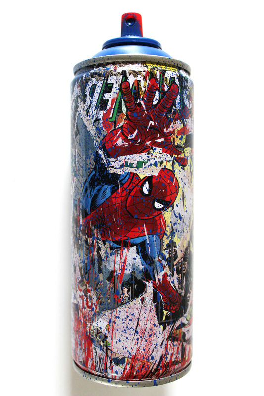 Mr. Brainwash, 'Spiderman Spraycan Blue', 2019, Mixed Media, Mixed media on spray can, EHC Fine Art Gallery Auction