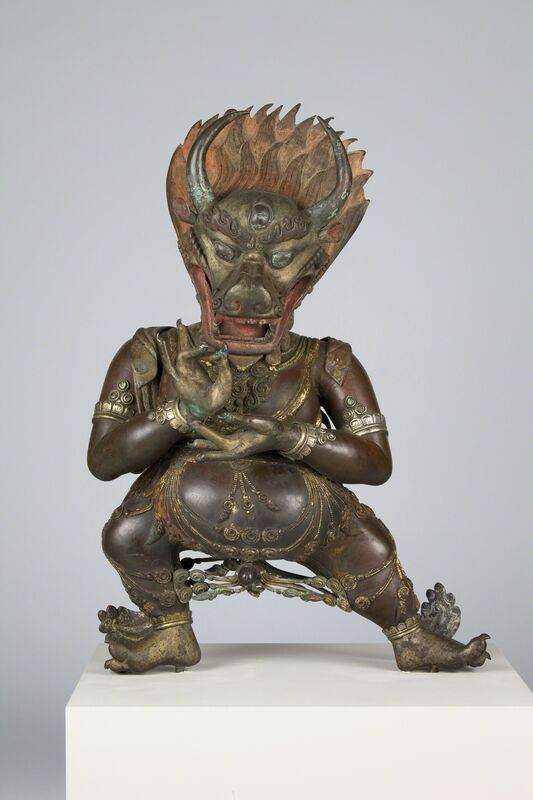 'Vajrabhairava', 19th century, Sculpture, Metal repoussé with cast hands and feet, applied ornaments and pigments, Rubin Museum of Art