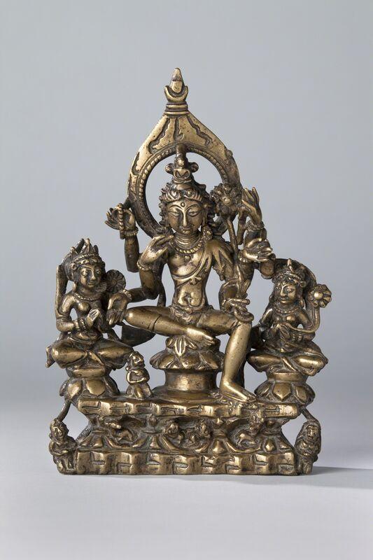 'Six-armed Avalokiteshvara Flanked by Goddesses', 10th century, Sculpture, Metalwork, Rubin Museum of Art