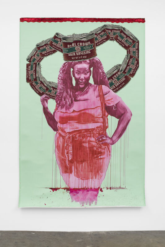 April Bey, 'A Whole Me?!', 2020, Textile Arts, Acrylic paint, watercolor, hand-sewn digitally woven and printed crown, Gavlak