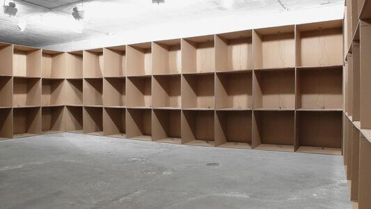 Zimoun, '111 prepared DC motors, cardboard boxes 60x60x60cm', 2010