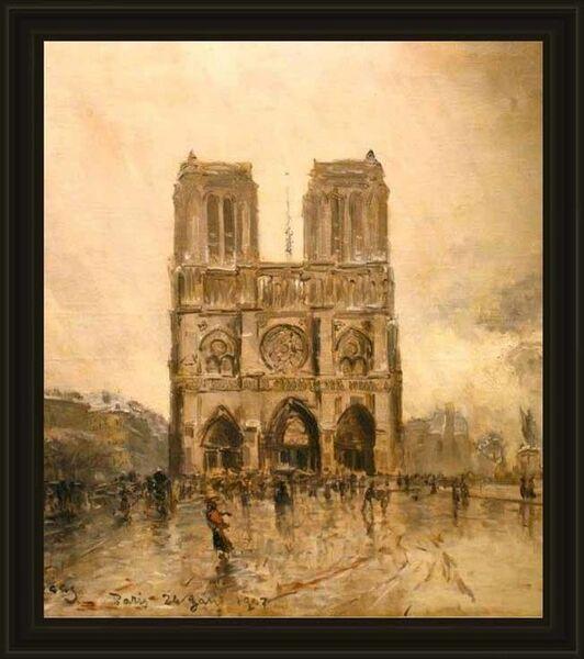 Frank Myers Boggs, ' Paris, temps gris, animation sur le parvis de Notre-Dame', 1907