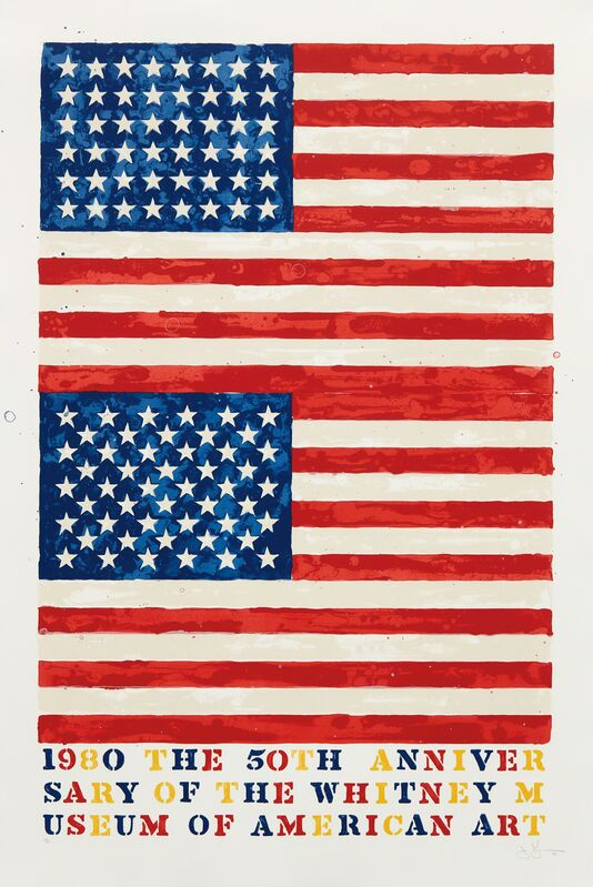 Jasper Johns, 'Two Flags (Whitney Anniversary)', 1980, Print, Lithograph in colors, on Arches 88 paper, with full margins, Phillips