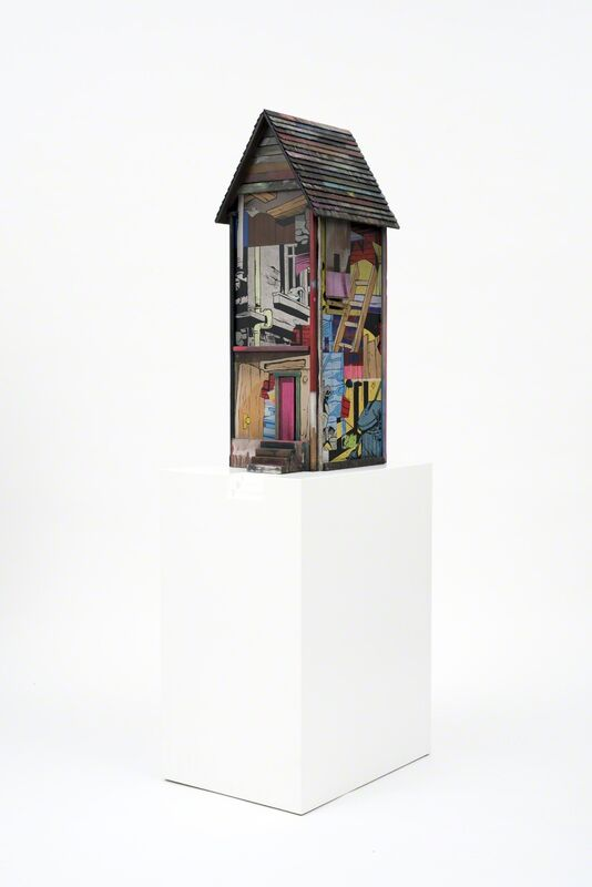 POSE, 'Row House Medium', 2015, Sculpture, Mixed media and spray paint on wood with base, BEYOND THE STREETS