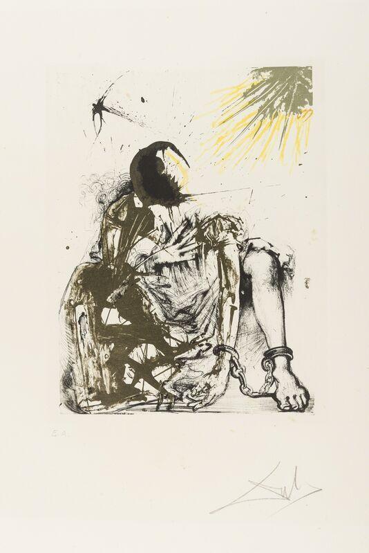 Salvador Dalí, 'Sigismund Enchainé (from Calderón: La Vie est un songe) (M&L 523a; Field 73-1-m)', 1971, Print, Etching with aquatint printed in colours, Forum Auctions