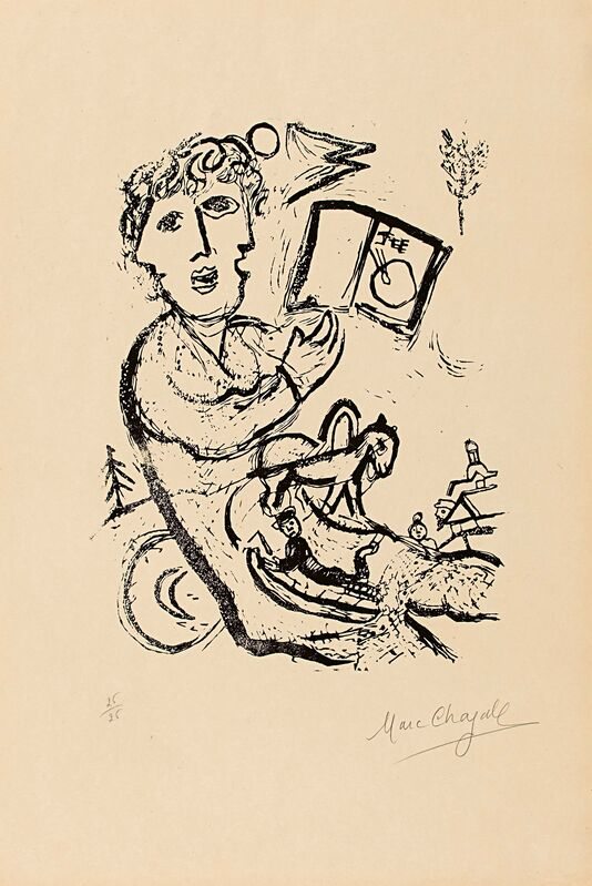 Marc Chagall, 'The Artist with the Book', Print, Colour lithograph on vellum, Van Ham