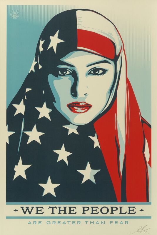 Shepard Fairey, 'Greater Than Fear, from We the People', 2017, Print, Offset lithograph in colors on speckled paper, Heritage Auctions