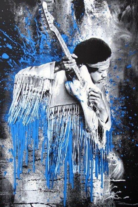 Mr. Brainwash, 'Jimi (Blue)', 2015, Print, 5 Colour Screen Print On Hand Torn Archival Art Paper, Stowe Gallery