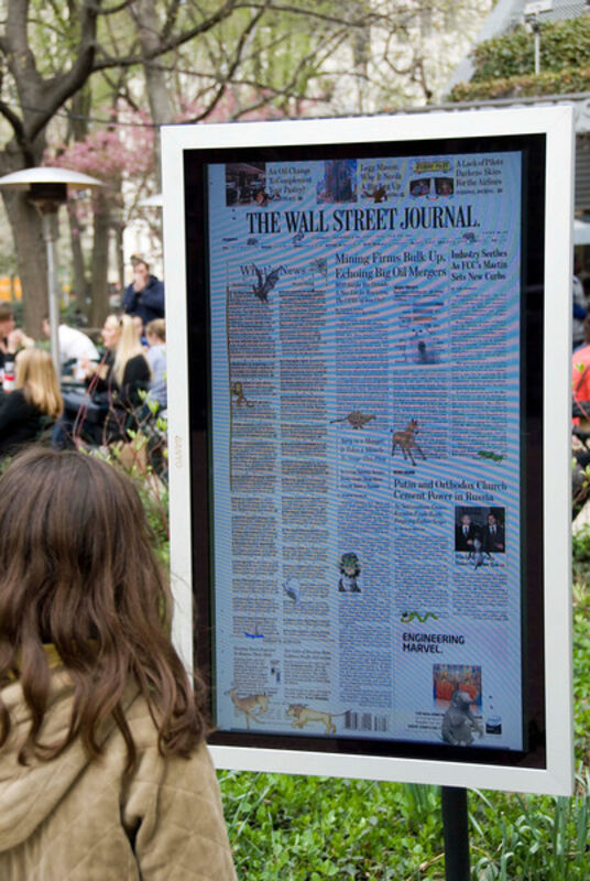 Olia Lialina and Dragan Espenschied, 'Online Newspapers: The Wall Street Journal', 2008, Installation, Scanned newspaper front pages, video screens, gif effects, Madison Square Park