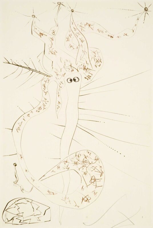 Salvador Dalí, 'Mad Tristan (Tristan and Iseult, Plate S)', 1970, Print, Hand-signed color-printed drypoint etching, Martin Lawrence Galleries