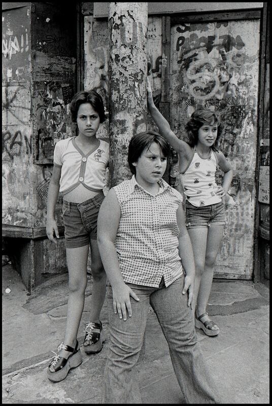 Susan Meiselas, 'JoJo,-Carol-and-Lisa-on-the-corner-of-Prince-and-Mott-streets,-Little-Italy-NYC', 1978, Photography, Silver Print, Galerie Catherine et André Hug