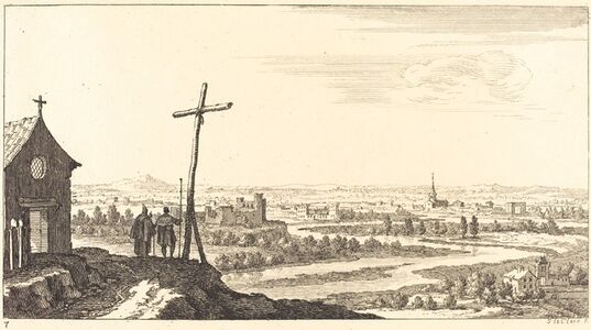 Sébastien Le Clerc I, 'Landscape with Church and Town in Distance', 1673