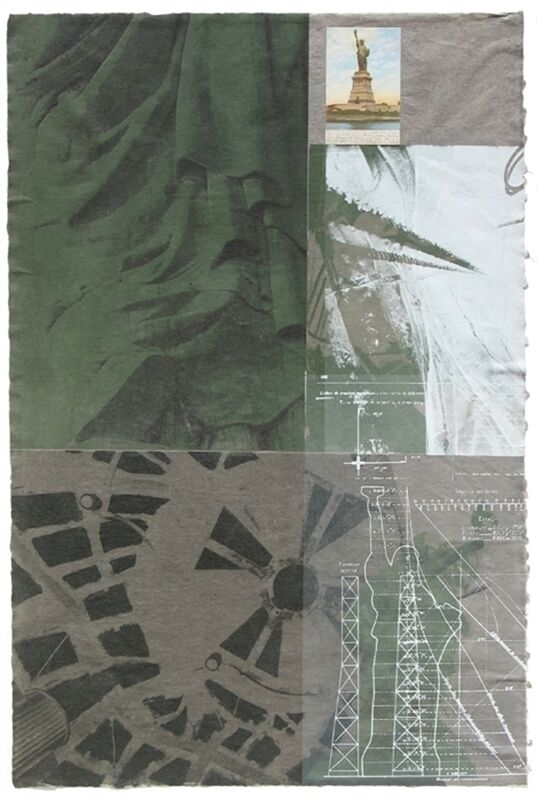 Robert Rauschenberg, 'Statue of Liberty', 1983, Print, Silkscreen printed in colors with postcard collage printed on thin hand-made Kazuki paper, to the edges, World House Editions