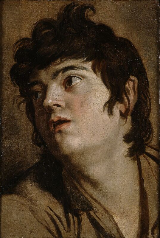 Peter Paul Rubens, 'Head of a Young Man', 1601, Painting, Oil on paper, mounted on panel, Blanton Museum of Art