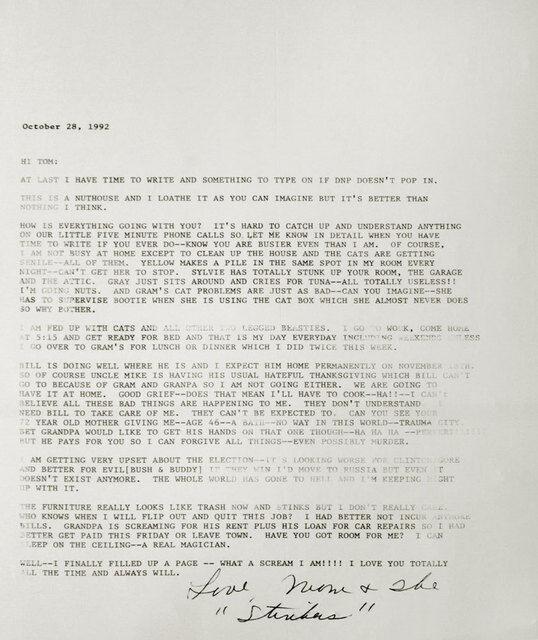 T R  Ericsson | Letter, October 28, 1992 (2015) | Artsy