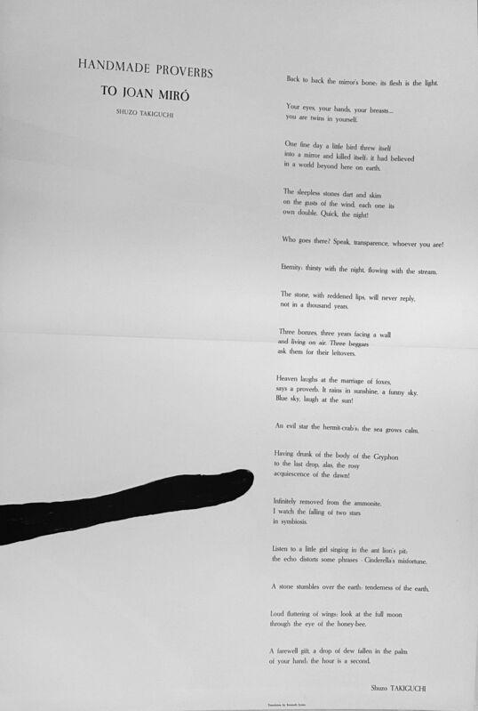 Joan Miró, 'Handmade Proverbs', 1970, Print, Original lithograph on Guarro paper, Samhart Gallery