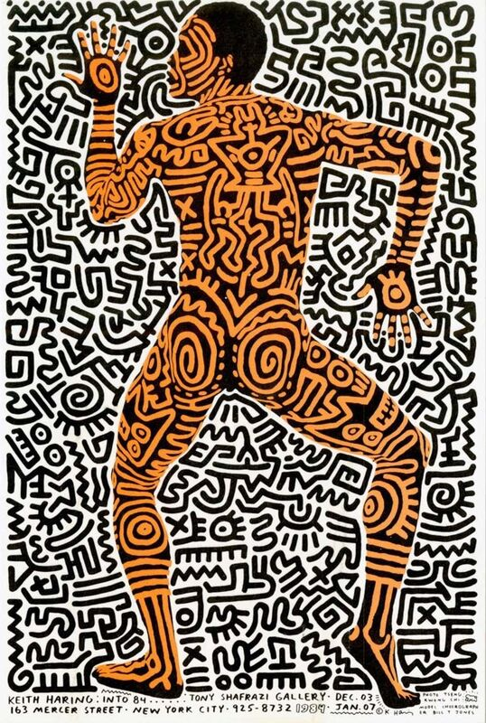 Keith Haring, 'Keith Haring Into 84 (Haring Bill T. Jones Shafrazi announcement card 1983)', 1983, Ephemera or Merchandise, Offset printed gallery announcement, Lot 180