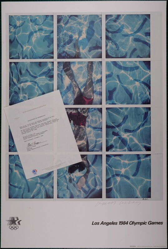 David Hockney, 'Los Angeles Olympic 1984 Offset Lithograph Hand Signed', 1984, Print, Offset Lithograph printed on Parsons Diploma Parchment, NCAG